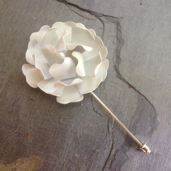 Wild Rose Lapel Pin in White
