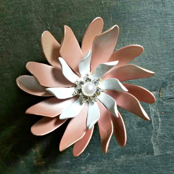 Pearly Pink and White Large Swirl Brooch