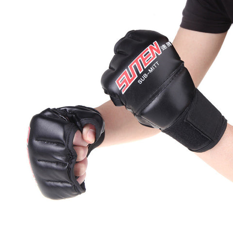 1 Pair PU Leather Half Mitts MMA Muay Thai Training Punching Sparring Boxing Gloves