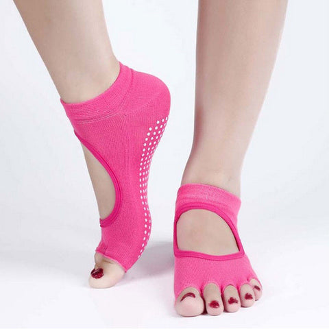 Yoga Toe Socks Professional Non-slip Backless Breathable Yoga Socks For Woman