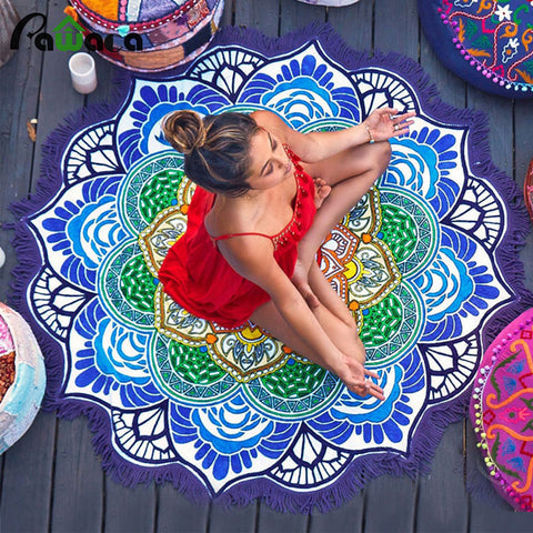 150 cm Lotus Print Yoga Towel Blanket