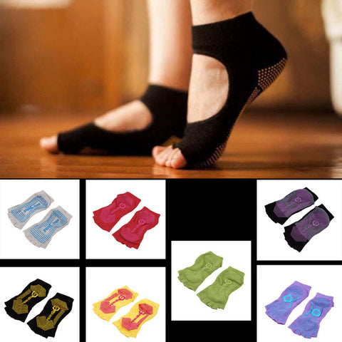 Durable Yoga Pilates Socks Half Toe Ankle Grip Five Finger No-Slip