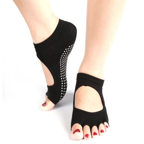 Half Toe Ankle Grip Yoga Dance Pilates Socks Five 5 Toes Non Slip Socks