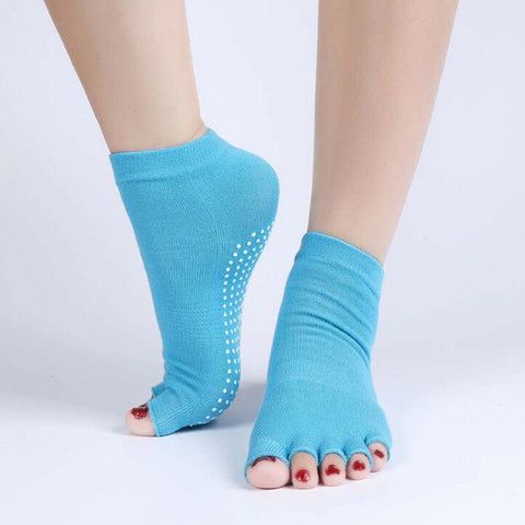 Half Toe Yoga Socks Non-Slip Pilates Ankle Grip Durable Cotton Yoga Socks