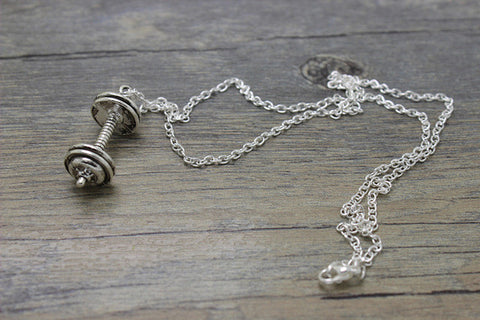 Antique Tibetan silver Weightlifting barbell charm pendant and sports Gym necklace jewelry