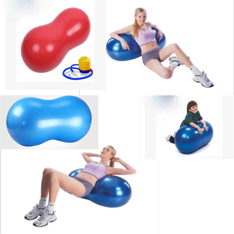 2015 free shipping new hot 90*45cm sports fitness gym exercise training yoga ball pilate explosion-proof  peanut shape durable