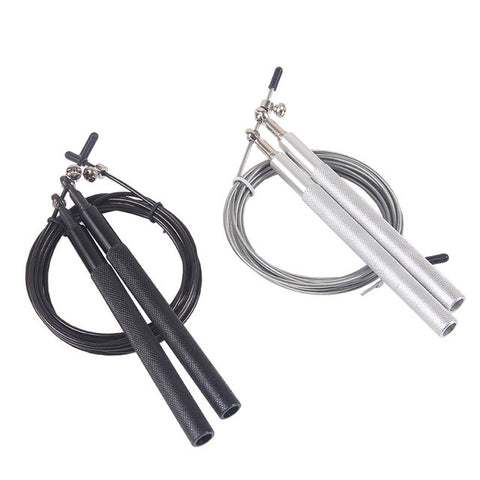 2016 Aluminum Handle Steel Cable Wire High Ultra Speed Skip Adjustable Jump Rope Workout Black free shipping