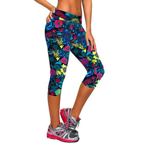 Women Sports Leggings High Waist Floral Printed Yoga Pants Fitness Workout Casual Pants