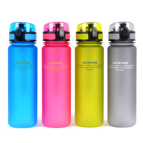 Plastic bottle uzspace (500ml) water bottle portable lovers with lid travel sports hiking riding