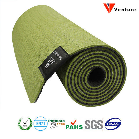 TPE Yoga Mat Non Slip Double Layers With Adjustable Strap Healthy Lose Weight For Yoga