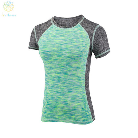 Women Color Matching Running T-Shirt Slim Sports Colourful Top Tees Fitness Yoga Gym