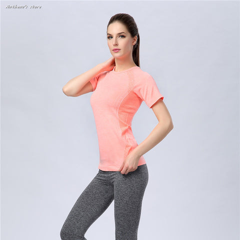 Women Sports Folding Spandex T-Shirt Fitness Running Yoga Gym Body Building Tops Tees
