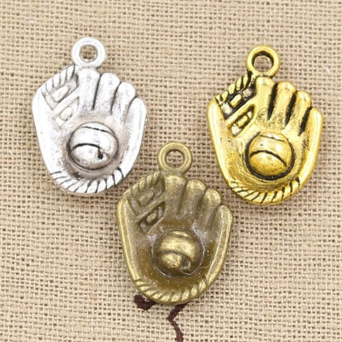 Charms baseball gloves 20*14mm Antique, pendant fit, Silver Bronze Gold