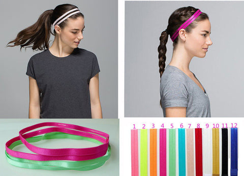 5 pieces Set Double Sports Elastic Headband Softball Yoga Anti-slip Silicone Hair Bands