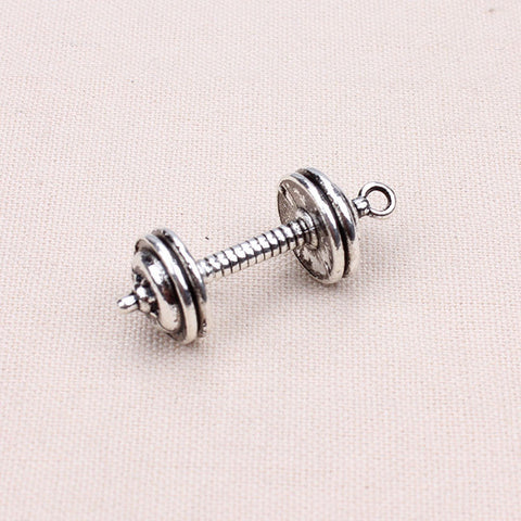 35.5MM Zinc Alloy Metal Dumbbell Sport Charms Pendants For Necklaces Jewelry