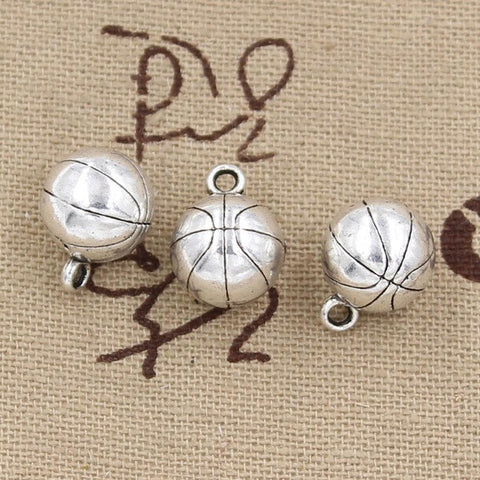 Charms 3D basketball 11mm Antique Making pendant Vintage Tibetan Silver