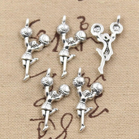 Charms cheerleader 29*14mm Antique Making pendant Vintage