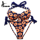 Bikinis Print Floral Women Swimsuits Brazilian Push Up Bikini Set Bathing Suits