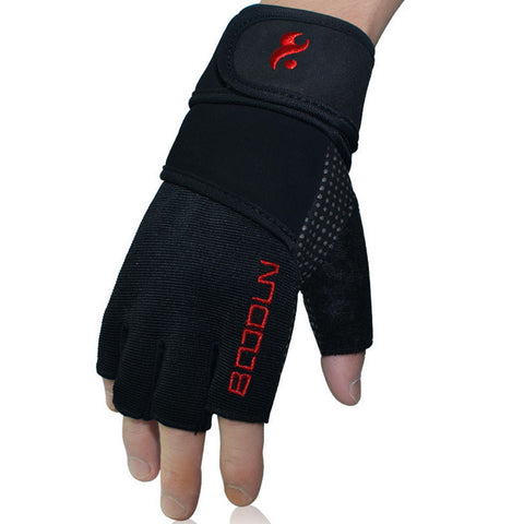 Boodun Weight Lifting Gym Gloves Fitness Gloves Half Finger Lengthen Wristband for Men Women Fitness Training Cycling Size S-XL