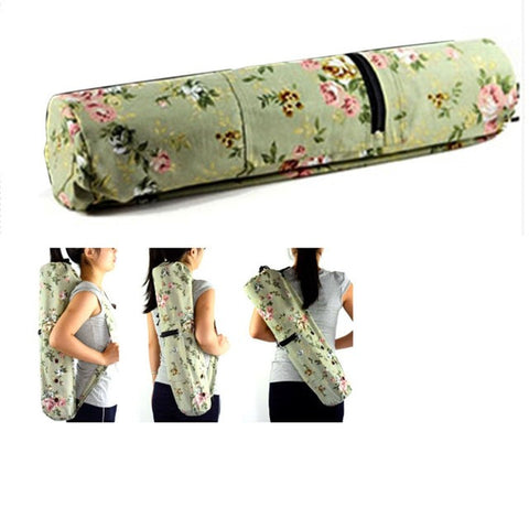Fashion Canvas Practical Yoga Pilates Mat Bag Carry Strap Drawstring Sport Exercise Gym Fitness Thick Mat