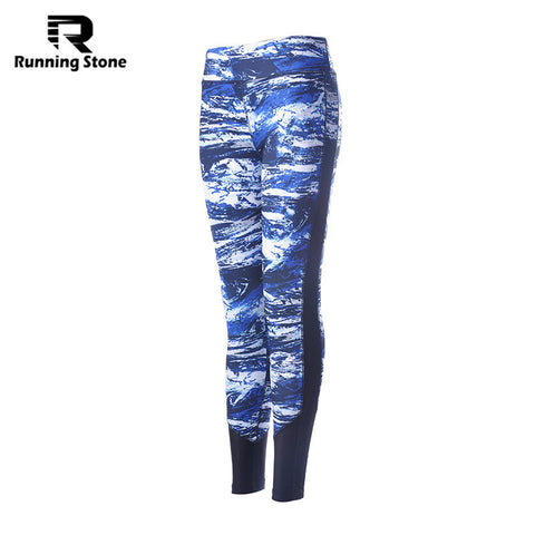 Printed Women's Running Fitness Elastic Leggings Stretched Gym Athletic Quick Dry Trousers