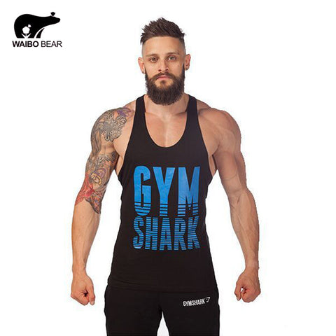 Golds Gym Stringer Tank Top Men Bodybuilding gym Clothing Fitness Mens Shirt Sports Vests Cotton Singlets Muscle Tops WAIBO BEAR