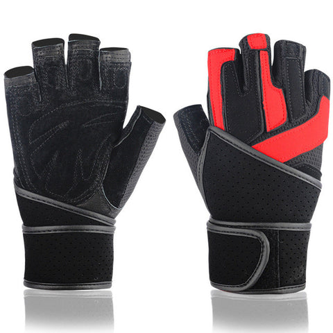 Leather Fitness Weightlifting Sports Half Finger Gloves For Men With Wrist Protection