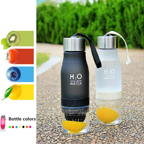 Lemon cup water bottle 650ml multi color H2O drink more water bottle protein brief