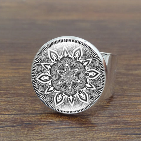 Mandala Flower Copper Yoga Ring