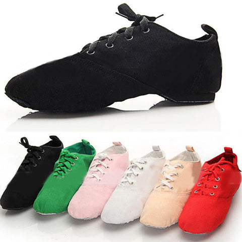 Men Woman's Canvas Jazz Dance Shoes Lace Up Boots Adult Woman Practice Yoga Shoes Soft Jazz Boots Black Red White Green Pink