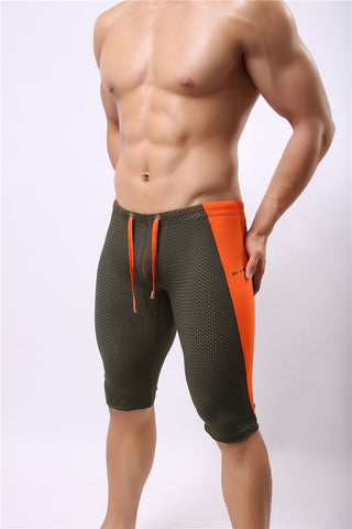 Mens Sports  Fitness  Yoga Trousers mesh  fifth pants