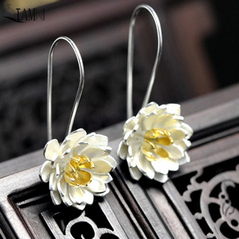 Sterling Silver Yoga Lotus Earrings For Women