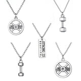 "Sports Fitness Necklace Dumbbell Weights Unisex Jewelry on 18"" Link Chain"