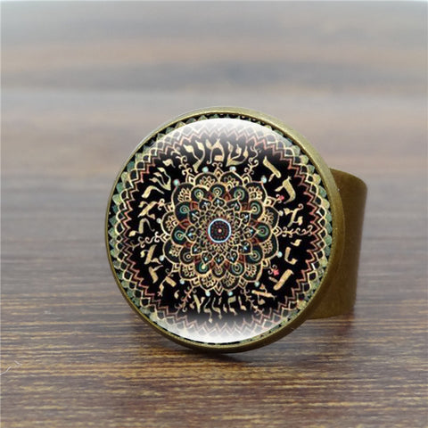 Vintage Mandala Flower Glass Yoga Ring