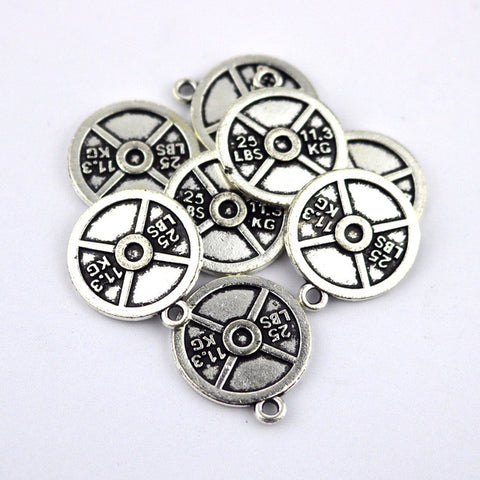 10pcs Silver Tone Round Stamping Weight Sign Charms Pendants Jewelry