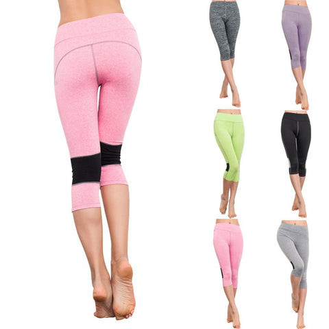 Women Capri Legging Yoga Cropped Sports Athletic Gym Workout Fitness Pants