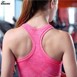 Women Sports Padded Sleeveless Yoga Vest Tank Top Spandex Stretch  Breathable