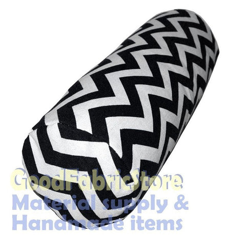 "ae 323g Off White Black ZigZag Cotton Canvas Yoga Bolster Cover Custom size (5""x20"",6""x15"",6""x22"",7""x24"",8""x26"",10""x30"""