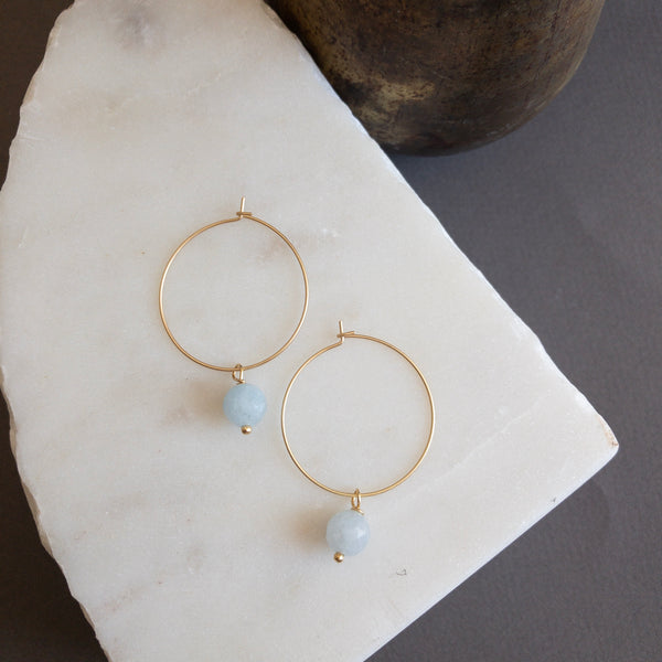 Gold hoop with Amazonite stone