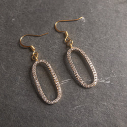 Oval pave crystal earrings