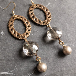 Vintage crystal and pearl earrings
