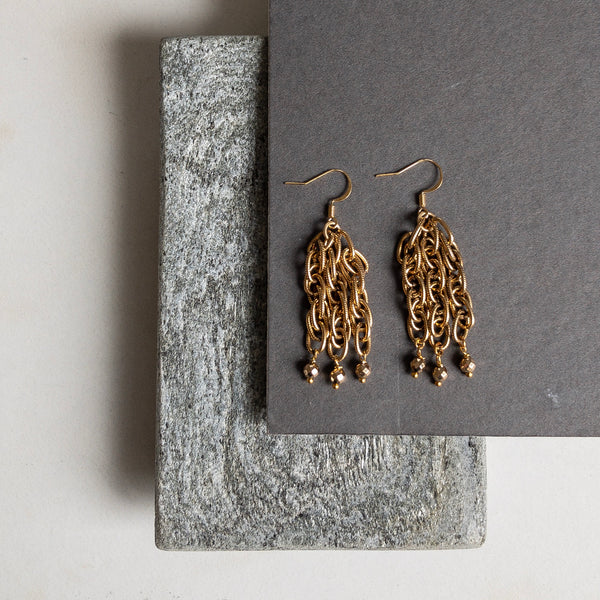 Etched chain earrings