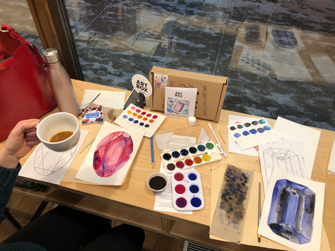 DIY Gem Paintings with Watercolors, RLB ARTBOX STUDIO, ARTBOX, ART KIT, Watercolor Paint, Gems