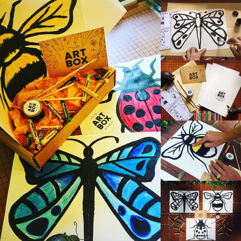 Flutter By, Art Project, Art Kit, Subscription Box, Art Supplies, Bugs, Insects, Butterflies, Symmetry, Oil Pastels, Acrylic Painting, Hobby, DIY, Erie, PA, Artwork, Art Rocks, Art Class, Art Lesson
