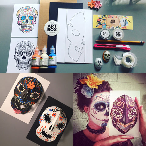 ART, DIY, ART PROJECT, RLB ARTBOX STUDIO, ART SUBSCRIPTION, CREATE, ART SUPPLIES, ART ED, ART TEACHER, ART CLASS, SUGAR SKULLS, DAYS OF THE DEAD, ART HISTORY