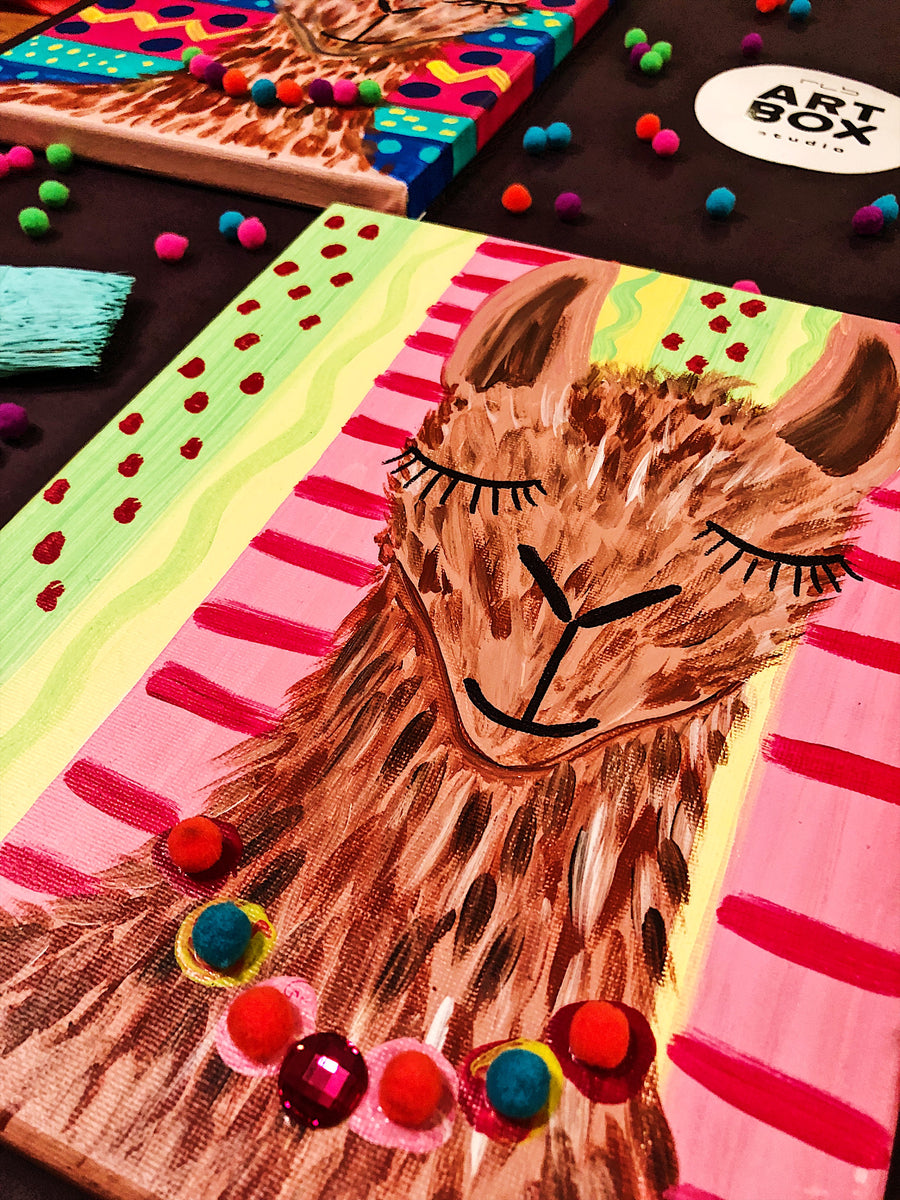 Llama, Llama art, Llama Painting, Kids Project, ARTBOX, RLB ARTBOX STUDIO, Art Kit, Art Project Kit, DIY Project, Craft Box, Kids Subscription, Kids Box, Artist, Artsy, Crafty, Arts and Crafts, Tinker Crate, Kiwi Crate, Doodle Crate, Made in Erie, Art Teacher, Art Lesson, Art Class, Art in a box, Kids Subscription Box