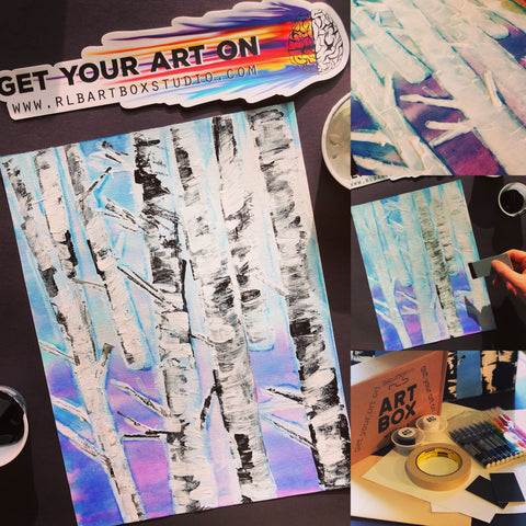 DIY art kit, Art project, Art Supplies, Art Box, Craft Box,  Birch Trees, DIY art project, Artbox