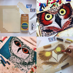 DIY Pastel Owl Art-Art Kit Delivered - RLB ARTBOX STUDIO