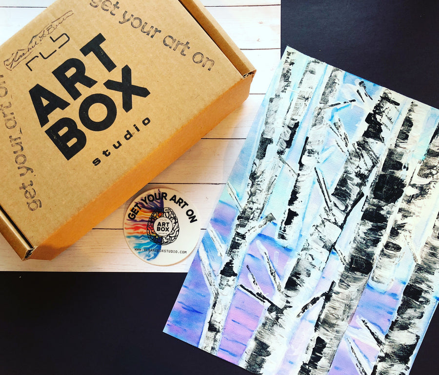 DIY Birch Tree Art, Art Kit, Art Box, Art, Art Project, Maker, Art Hobby, Artsy, Creative, Craft, Art Subscription, Art Making, RLB ARTBOX STUDIO, Past Boxes, Subscribe, Erie PA
