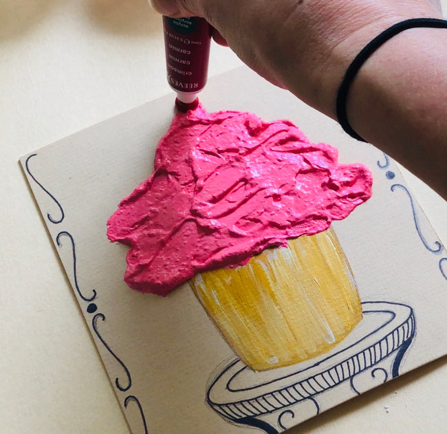Impasto Cupcake Paintings - RLB ARTBOX STUDIO